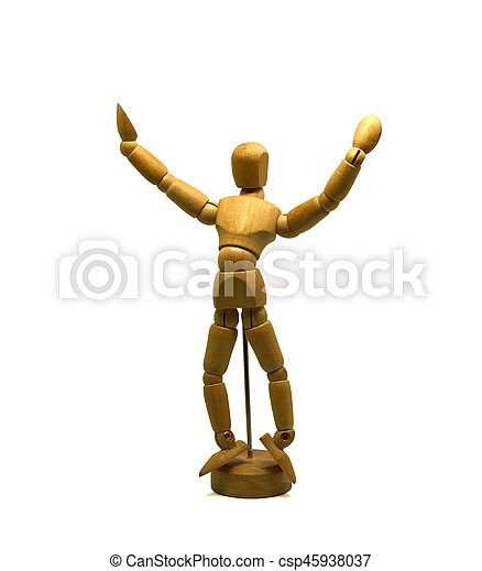 dancing wooden mannequin, puppet, isolated - csp45938037