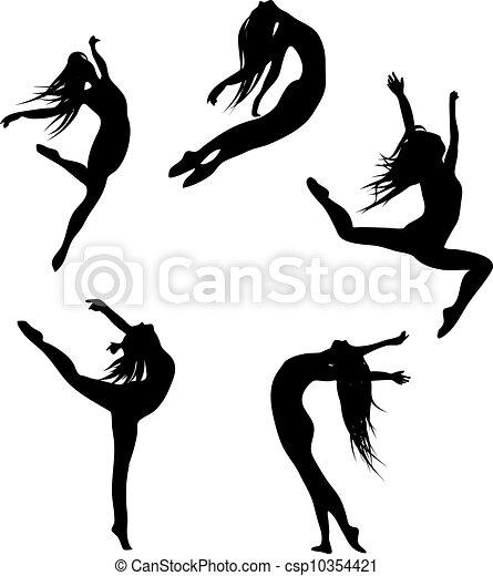 Cinco siluetas negras bailando - csp10354421