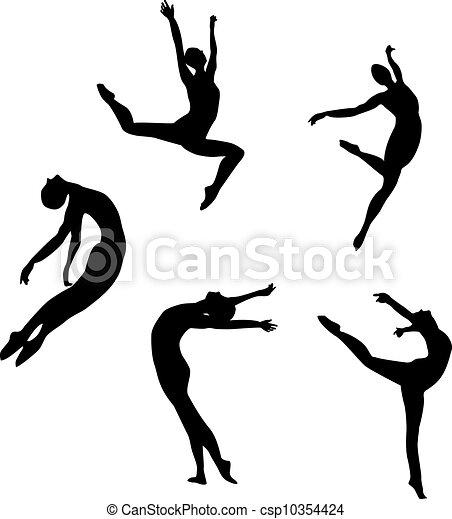 dancing(jump, cinque, silhouette, nero - csp10354424