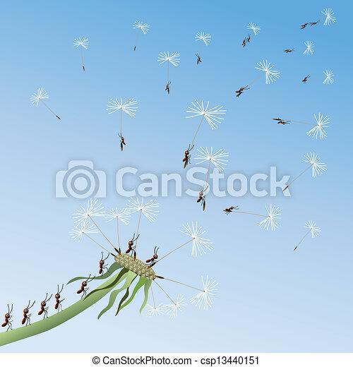 Dandelion on a background blue sky. - csp13440151