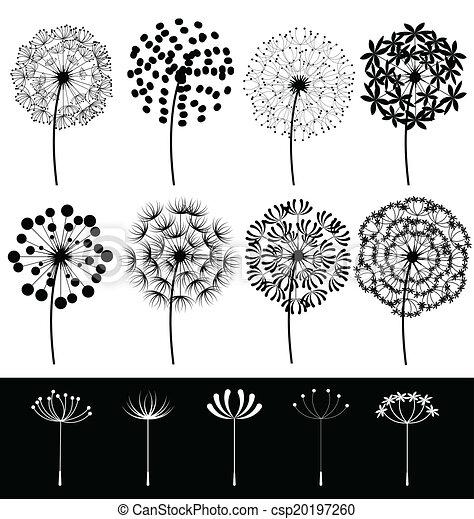 Dandelions set vector - csp20197260
