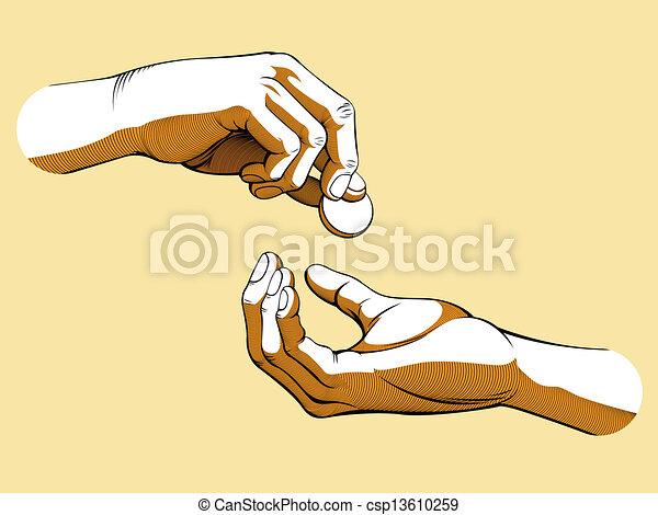 dando denaro, mani, ricevimento, & - csp13610259
