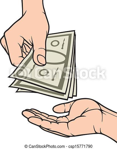 dando denaro, ricevimento, mani - csp15771790