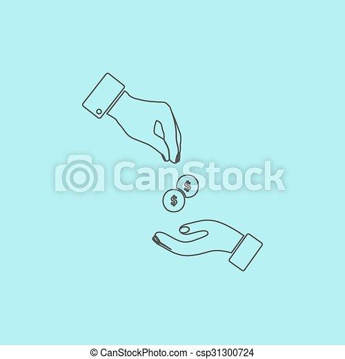 dando denaro, ricevimento, mani - csp31300724