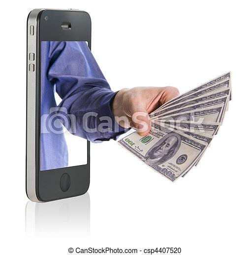 dando dinheiro, sobre, esperto, telefone - csp4407520