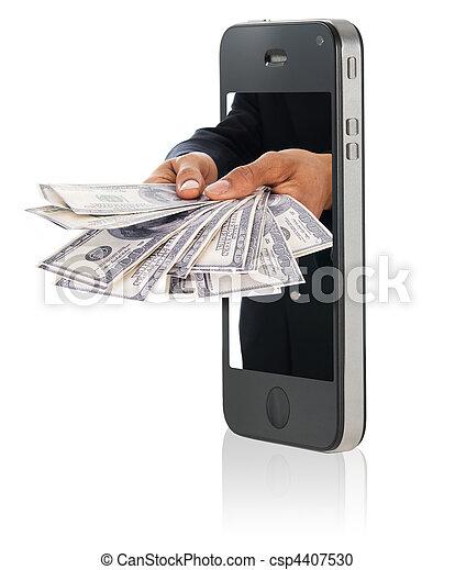 dando dinheiro, sobre, esperto, telefone - csp4407530