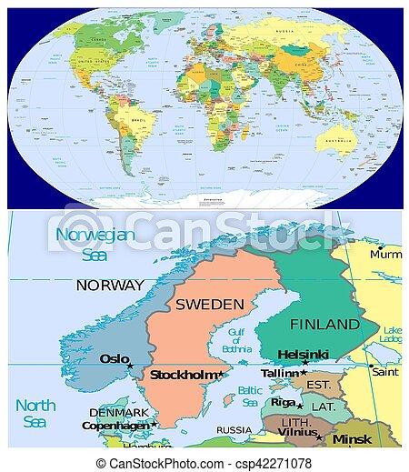 Carte Norvege Suede.Danemark Suede Finlande Norvege Mondiale