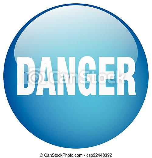 danger blue round gel isolated push button - csp32448392