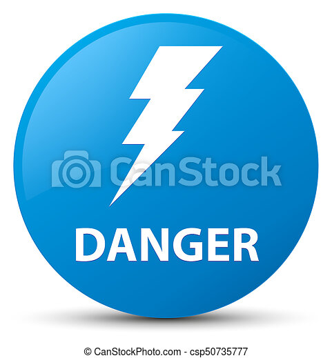 Danger (electricity icon) cyan blue round button - csp50735777