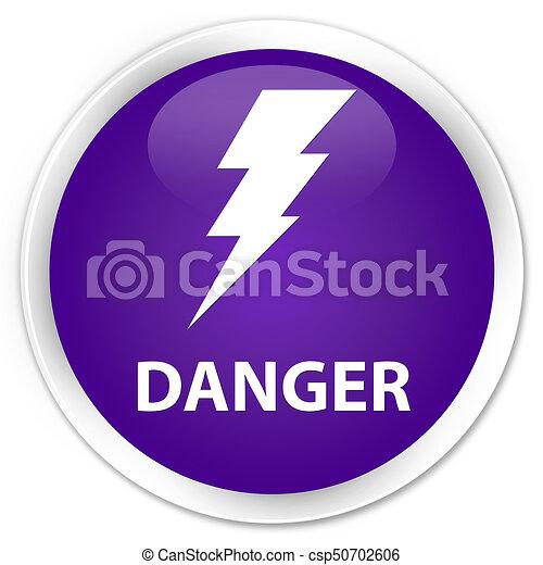 Danger (electricity icon) premium purple round button - csp50702606