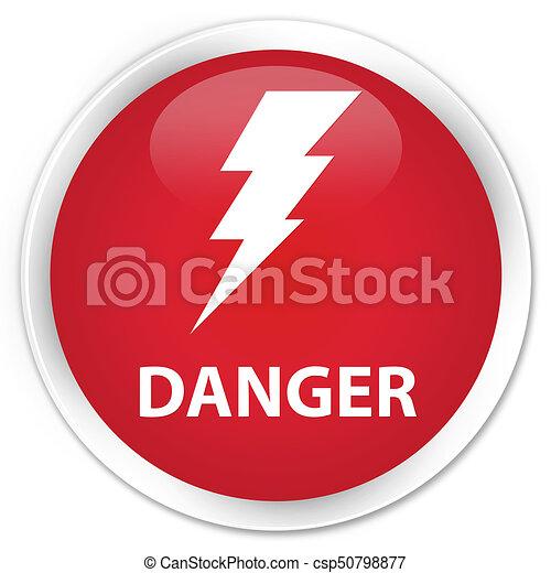 Danger (electricity icon) premium red round button - csp50798877
