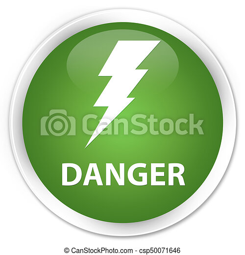 Danger (electricity icon) premium soft green round button - csp50071646