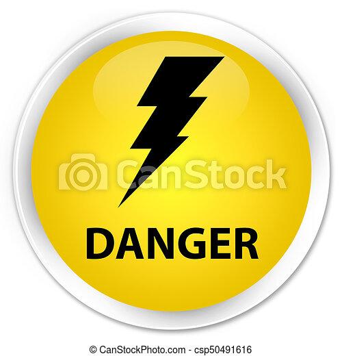Danger (electricity icon) premium yellow round button - csp50491616