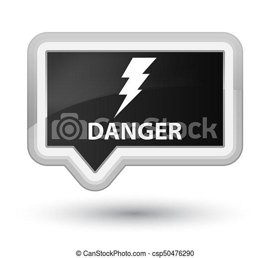 Danger (electricity icon) prime black banner button - csp50476290