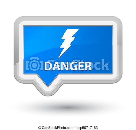 Danger (electricity icon) prime cyan blue banner button - csp50717183