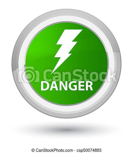 Danger (electricity icon) prime green round button - csp50074883
