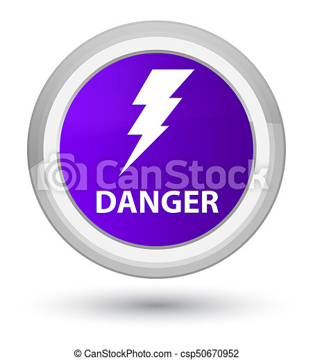 Danger (electricity icon) prime purple round button - csp50670952