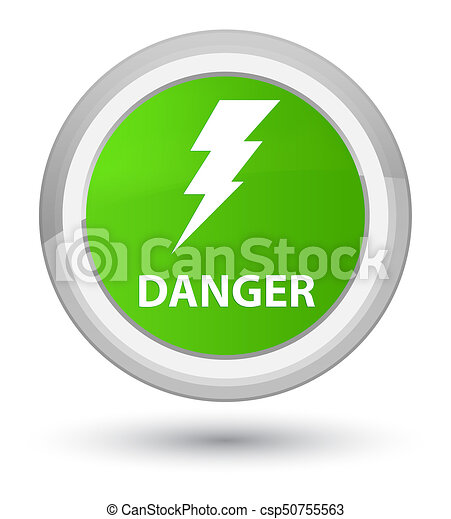 Danger (electricity icon) prime soft green round button - csp50755563