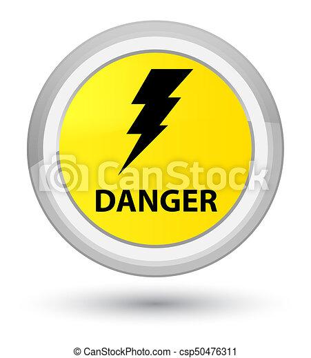 Danger (electricity icon) prime yellow round button - csp50476311