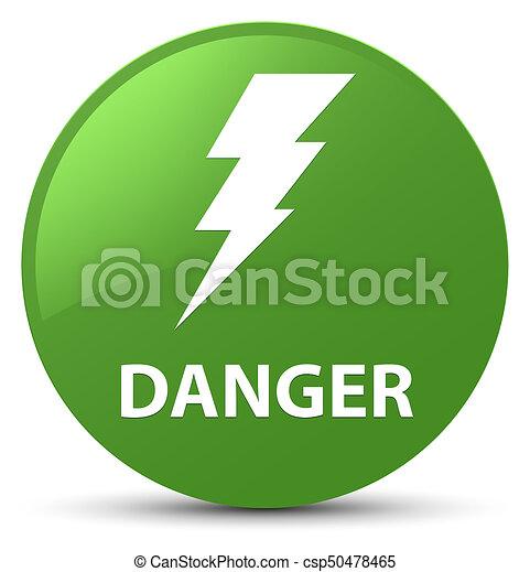 Danger (electricity icon) soft green round button - csp50478465
