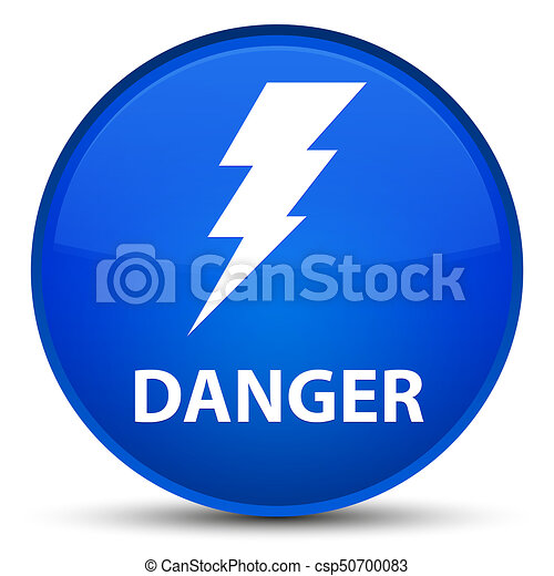 Danger (electricity icon) special blue round button - csp50700083