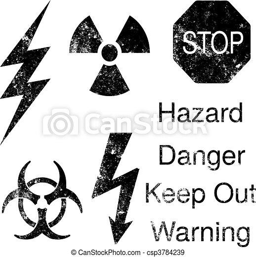 danger, ensemble, grunge, icônes - csp3784239