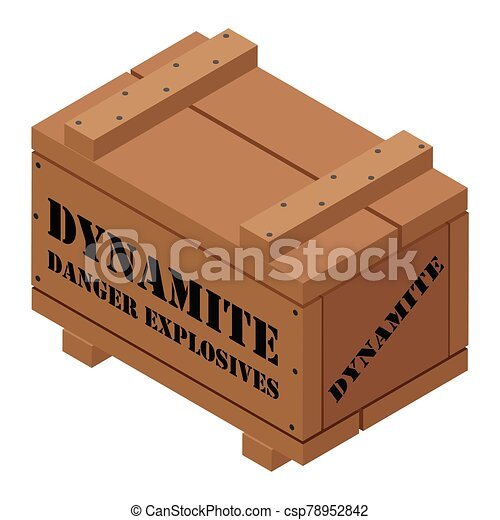 Danger explosives dynamite wooden box - csp78952842