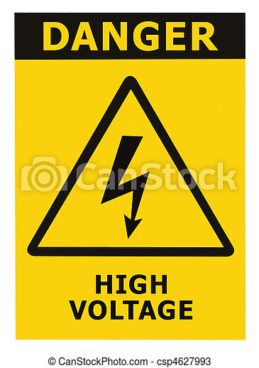 Danger High Voltage Sign With Text Isolated - csp4627993
