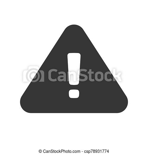 Danger risk caution road sign or alert attention triangle icon with exclamation mark blank and white vector flat cartoon symbol, dangerous hazard or safety information sign clipart isolated image - csp78931774