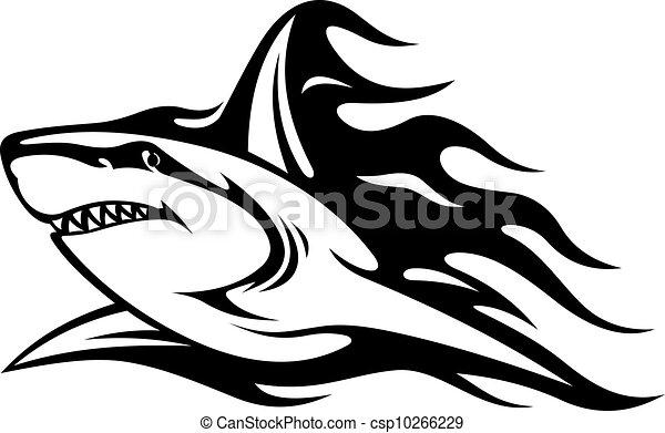 Danger shark tattoo - csp10266229