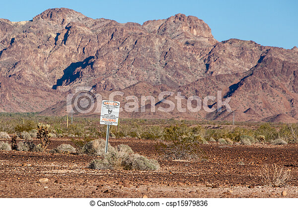 Danger sign for US Government military zone - csp15979836