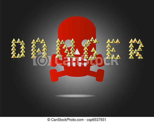danger skull sign on the black background - csp6537931