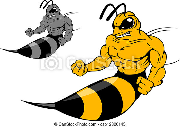 danger yellow hornet with sting in cartoon style for mascot eps rh canstockphoto com  hornet mascot clipart free