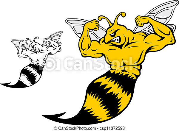 danger yellow jacket with muscles for mascot design eps vectors rh canstockphoto com yellow jacket clipart black and white yellow jacket clipart