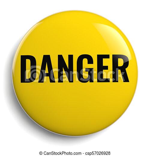 Danger Yellow Round Icon Symbol - csp57026928