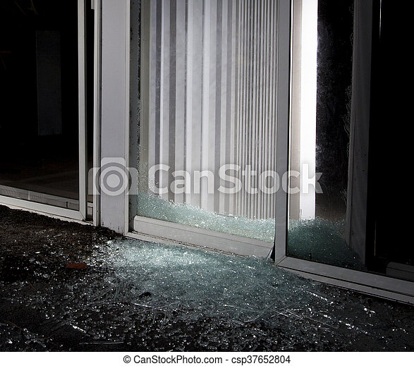 Dangerous Break It Shattered Sliding Glass Door At Night After A