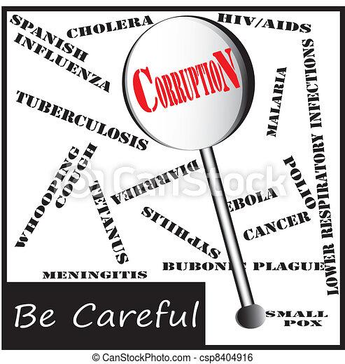 dangerous disease in lens - corruption - csp8404916