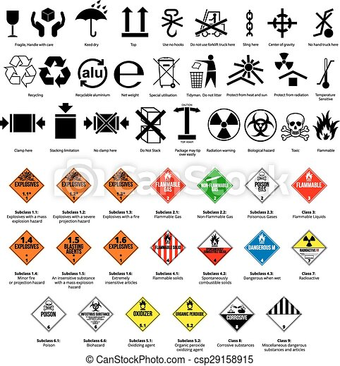 Dangerous Symbol Cargo And Package Symbols And Danger Hazard Cargo