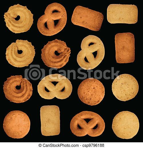 Danish cookies - editable vector set - csp9796188