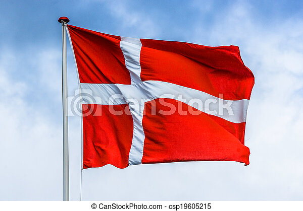 Danish flag in red and white color - csp19605215