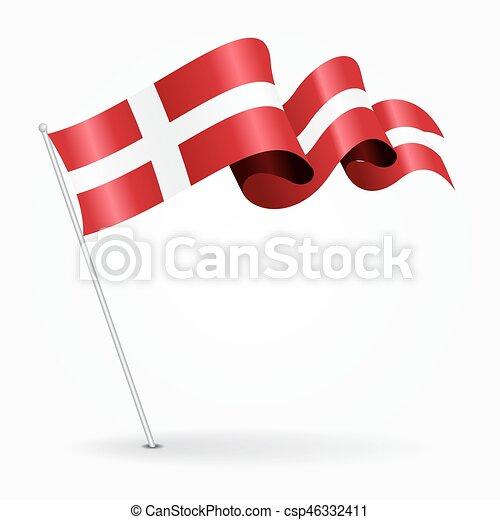 danois, ondulé, illustration., épingle, flag., vecteur - csp46332411
