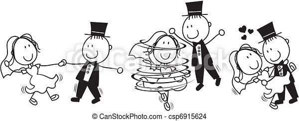 dans, eerst, spotprent, trouwfeest - csp6915624