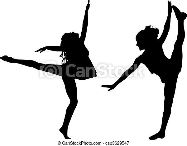 dans, sportende, silhouette - csp3629547
