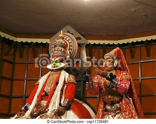 danse, actor., inde, (cochin), kochi, kathakali, tradional - csp11726481