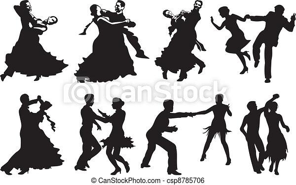 danse, couple, icône, -, danse - csp8785706