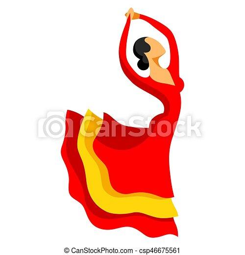 Danse femme traditionnel rouges espagnol robe - Dessin danseuse de flamenco ...