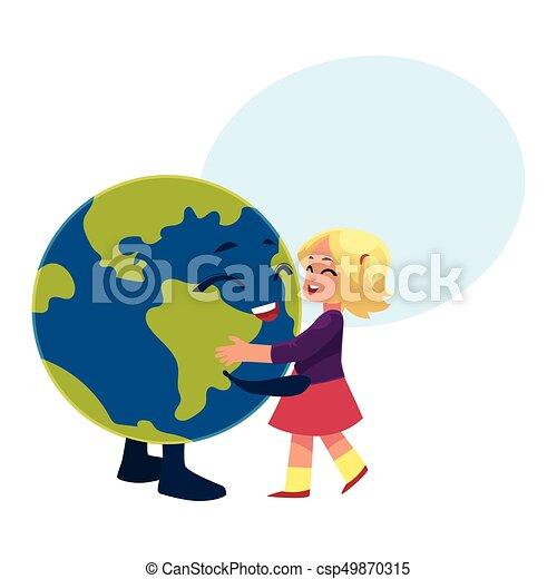 Danse Globe Caractère Terre Planète Girl
