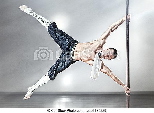 danse, poteau, homme - csp6139229