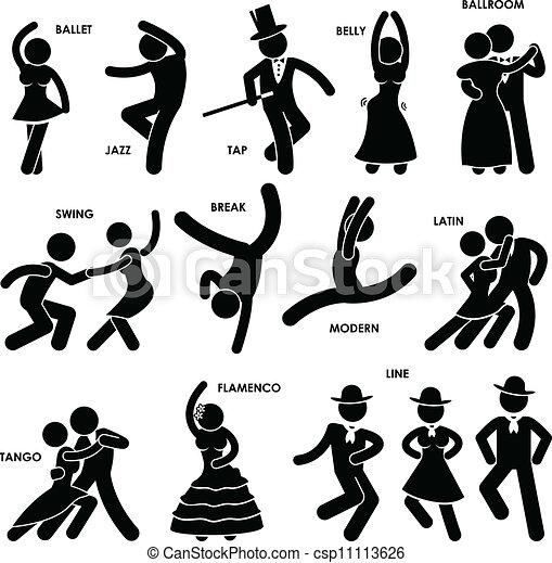 Exceptionnel Illustration Vecteur de danseur, danse, pictogramme - style  WT11
