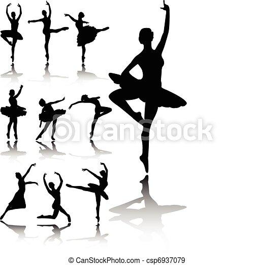 danseurs ballet, silhouettes - csp6937079